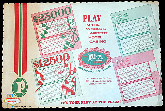 A paper placemat from the Union Plaza advertising Keno play.
