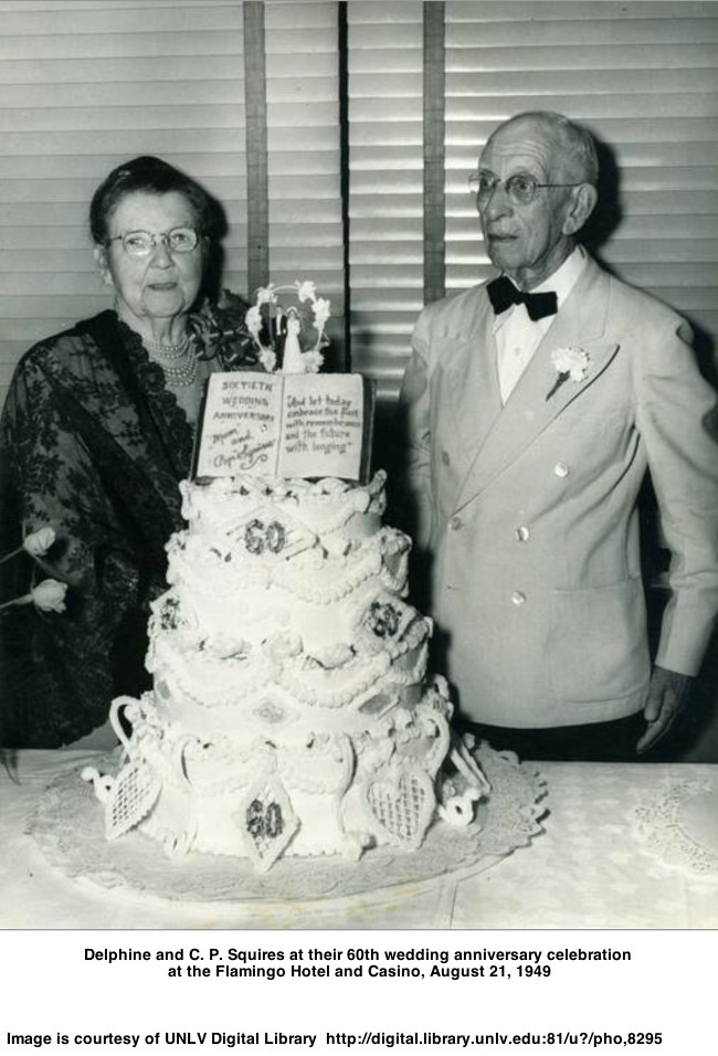 Delphine and C. P. Squires at their 60th wedding anniversary celebration at the Flamingo Hotel and Casino, August 21, 1949
