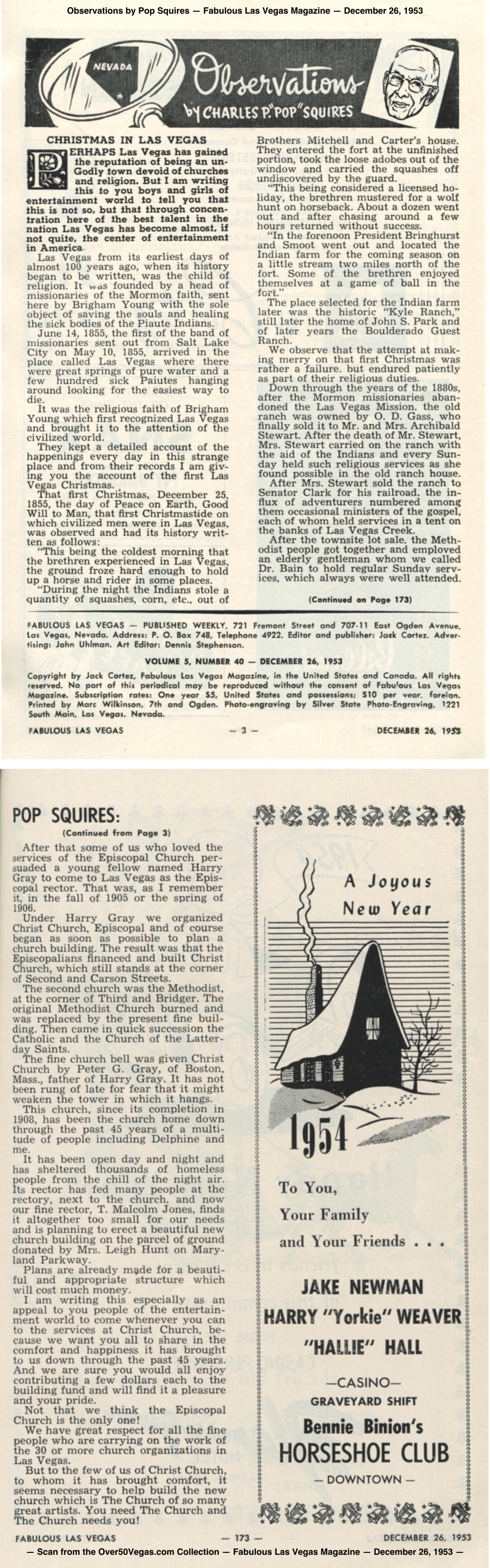 Observations by Pop Squires — Fabulous Las Vegas Magazine — December 26, 1953