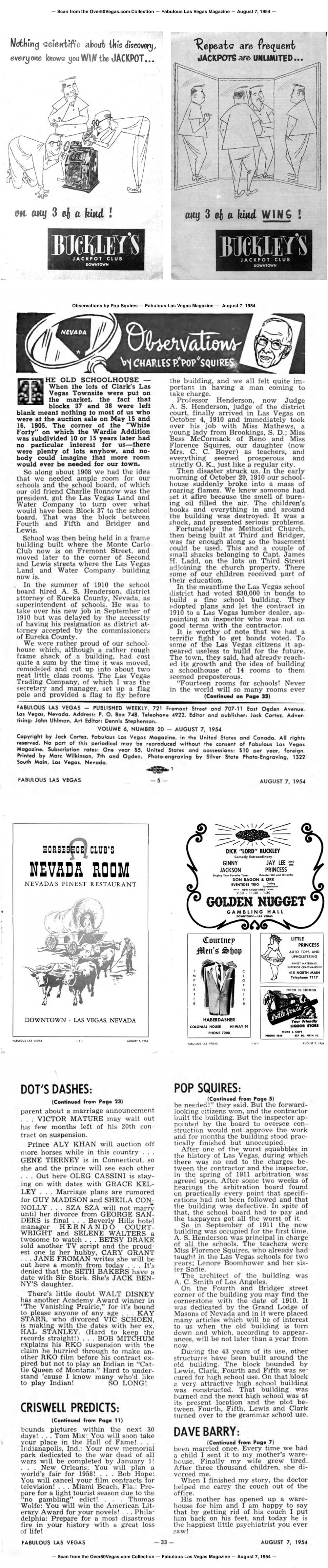 Observations by Pop Squires — Fabulous Las Vegas Magazine —  August 7, 1954