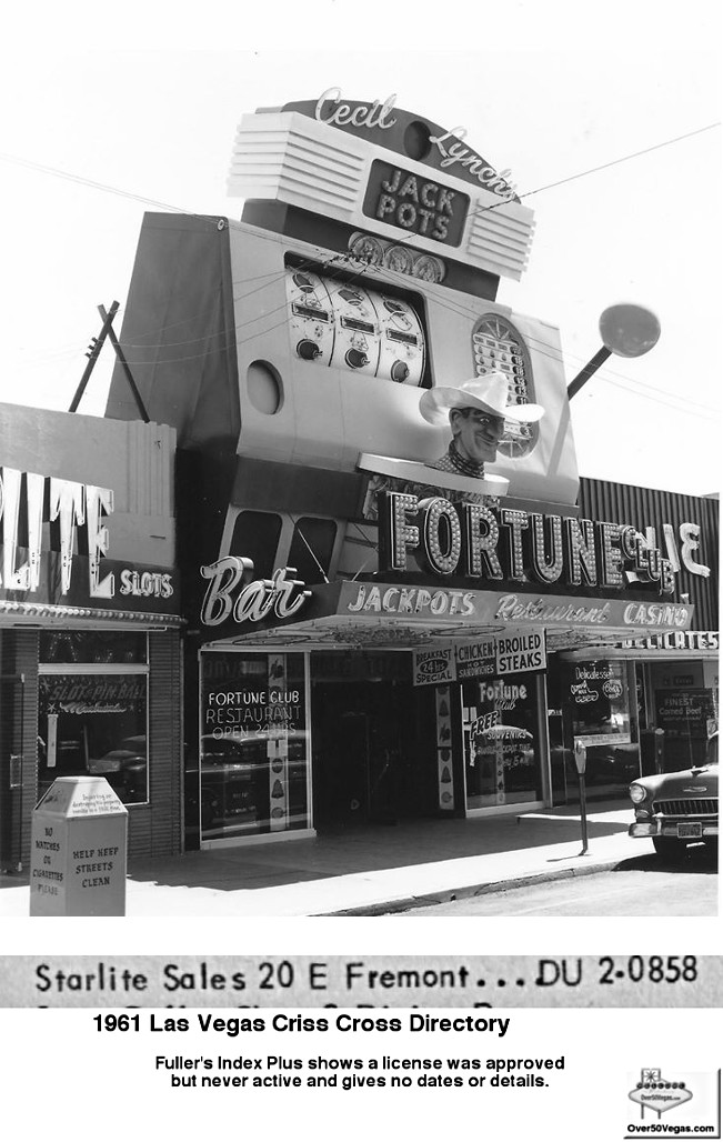 After Buckley's Jackpot Club at 20 E Fremont closed in 1960 the location was used for a short time by Starlite Sales.