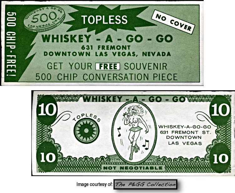 Whiskey a Go Go Las Vegas  advertising coupon from the 1960's