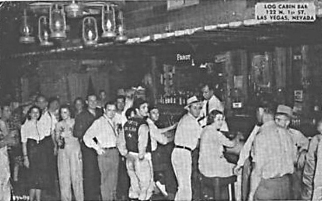 An unsourced photo or postcard showing the interior of the Log Cabin Bar at 122 N. 1st Street in downtown Las Vegas