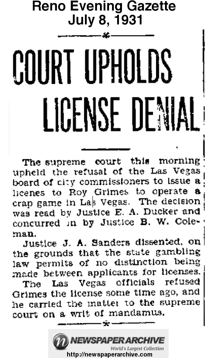 Roy Grimes loses his appeal for a gambling license in 1931